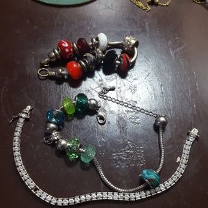Jewelry - 3/$13 Bead charm and silver tennis bracelet bundle
